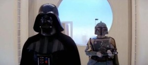 Boba Fett behind Darth Vader on Cloud City