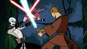 Asajj Ventress and Anakin skywalker engaged in light saber battle