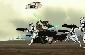 Yoda and Shaak-Ti in battle alongside Clone Troopers