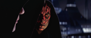 Darth Maul and Lord Sidious speaking on Coruscant