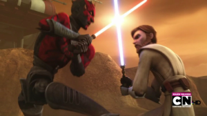 Darth Maul and Obi-Wan Kenobi fighting on Florrum