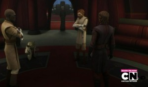 Jedi conferring after speaking with Chancellor Palpatine