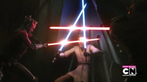 Obi-Wan Kenobi fighting off Darth Maul and Savage Oppress