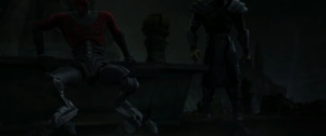 Darth Maul trying to walk with his new mechanical legs