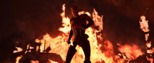 Darth Maul walking in front of fire on Raydonia