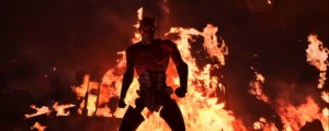 Darth Maul in front of fire on Raydonia