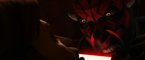 Darth Maul promising Obi-Wan Kenobi a painful death