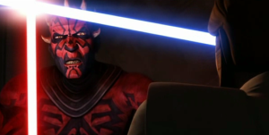 Darth Maul and Obi-Wan Kenobi engaged in light saber battle