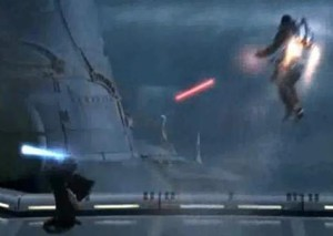 Jango Fett shooting at Obi-Wan Kenobi on Kamino from air