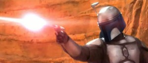 Jango Fett shooting at and killing Coleman Trebor