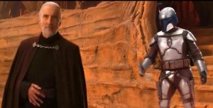 Jango Fett spinning his gun into his holster after having killed Coleman Trebor and successfully defending Count Dooku