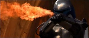 Jango Fett using fire against Mace Windu