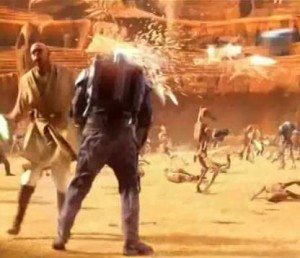 Mace Windu chopping head off of Jango Fett