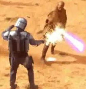 Mace Windu chopping the gun out of Jango Fetts hands