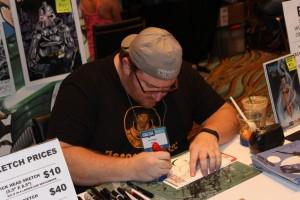 Tom Hodges hard at work drawing at Long Beach Comic Expo 2014