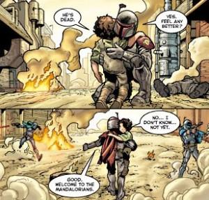 Jango Fett being welcomed into the Mandalorians