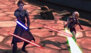 Ahsoka and Anakin with light sabers