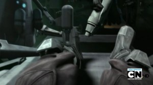 Darth Maul receiving new legs from a medical droid