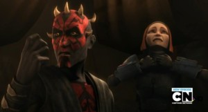 Darth Maul speaking to Pre Vizsla with Bo Katan in a Force choke