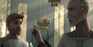 Prime Minister Almec speaking to Obi-Wan Kenobi about Jango Fett