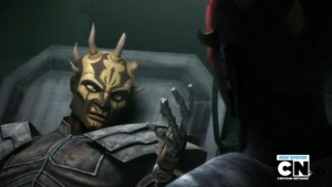 Savage Oppress speaking to Darth Maul from his medical bed
