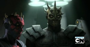 The rehabilitated brothers standing next to each other - notice that Darth Maul is now shorter