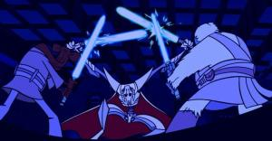 General Grievous battling Roron Corobb and Foul Moudama