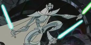 General Grievous grasping three lightsabers at end of Star Wars Clone Wars season 2
