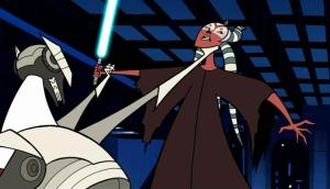 General Grievous with a choke grip on Shaak Ti