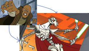 Mace Windu crushing the insides of General Grievous