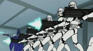 Clone troopers firing on General Grievous in the chancellor's quarters