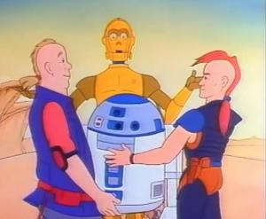 """C-3PO and R2-D2 being taken in by land speeder racers, Jord Dusat and Thall Joben, in """"The White Witch"""""""