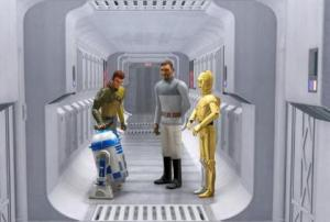 R2-D2 and C-3PO with Kanan and Bail Organa