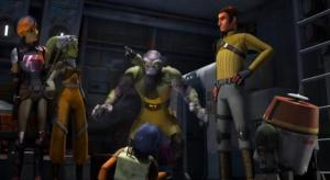 Zeb trying to get rid of Ezra while the crew looks on
