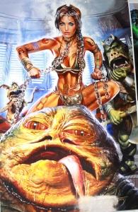 Fake Slave Leia choking Jabba the Hutt - by Greg Horn