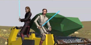 Anakin and Obi-Wan defending the kyber crystal