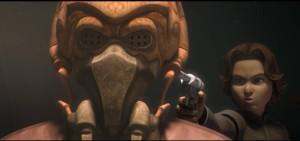 Boba Fett with a gun to the head of Plo Koon