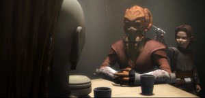 Boba Fett with a gun to the head of Plo Koon while speaking with Aurra Sing