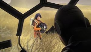 Ezra Bridger pilfering a TIE fighter helmet