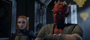 Darth Maul speaking to Pre Viszla with Bo Katan beside him