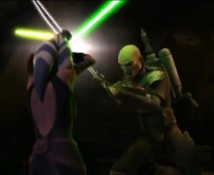 Ahsoka and Pre Vizsla engaging in light saber fight