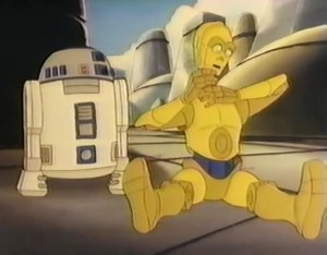 C-3PO trying to adjust his neck after having fallen