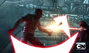 Darth Maul fighting Darth Sidious with the dark light saber