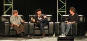 "Dave Filoni speaking to David W. Collins while Pablo Hidalgo looks on at ""The Untold Clone Wars"" panel"