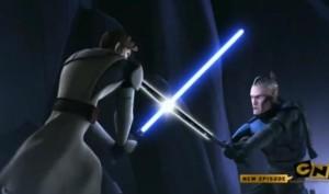 Pre Vizsla engaging the darksaber in battle with Obi-Wan Kenobi