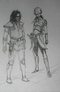 Sketch of Quinlan Vos and Asajj Ventress together
