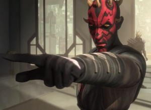 Darth Maul challenging Pre Vizsla to a duel