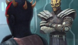 Darth Maul considering a new plan in jail while Savage Oppress looks on