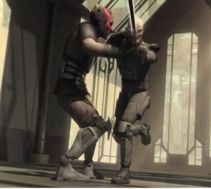 Darth Maul grabbing Pre Vizsla after he charges him without Darth Maul holding his light saber