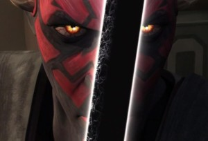 Darth Maul holding the dark saber for the first time